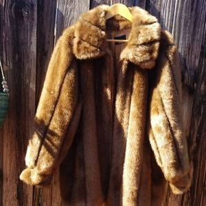 Golden Fabulous Faux Fur Dennis Basso coat L
